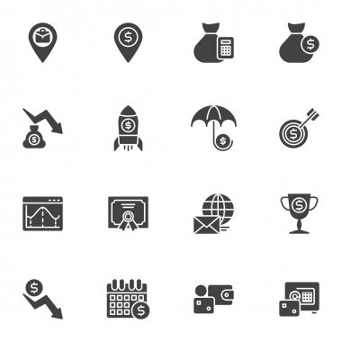 Business money vector icons set, modern solid symbol collection, filled style pictogram pack. Signs, logo illustration. Set includes icons as startup rocket, money bag, dollar currency wallet, bank icon