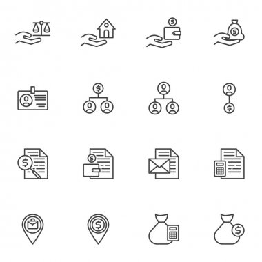 Business and finance line icons set, outline vector symbol collection, linear style pictogram pack. Signs, logo illustration. Set includes icons as money savings, financial management, money bag icon