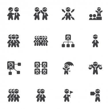 Business people vector icons set, modern solid symbol collection, filled style pictogram pack. Signs, logo illustration. Set includes icons as human resources, management, business communication icon