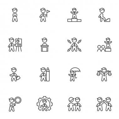 Business people line icons set, outline vector symbol collection, linear style pictogram pack. Signs, logo illustration. Set includes icons as business presentation, meeting , management, teamwork icon