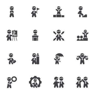 Business people vector icons set, modern solid symbol collection, filled style pictogram pack. Signs, logo illustration. Set includes icons as business presentation, meeting , management, teamwork icon