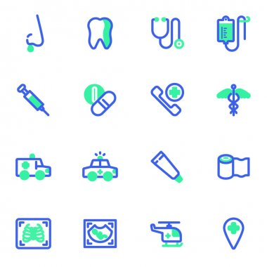 Medical service vector icons set, modern solid bicolor symbol collection, filled style pictogram pack. Signs, logo illustration. Set includes icons as medicine pills, mask, ultrasound, first aid kit icon