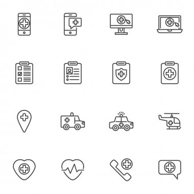 Emergency medicine line icons set, outline vector symbol collection, linear style pictogram pack. Signs, logo illustration. Set includes icons as online medicine, emergency call, medical insurance icon