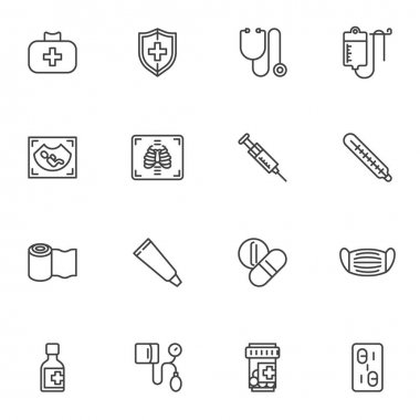 Medical service line icons set, outline vector symbol collection, linear style pictogram pack. Signs, logo illustration. Set includes icons as medicine pills, medical mask, ultrasound, first aid kit icon