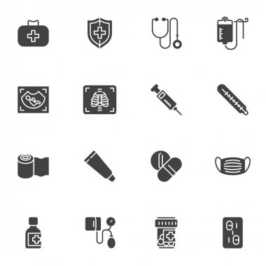 Medical service vector icons set, modern solid symbol collection, filled style pictogram pack. Signs, logo illustration. Set includes icons as medicine pills, medical mask, ultrasound, first aid kit icon