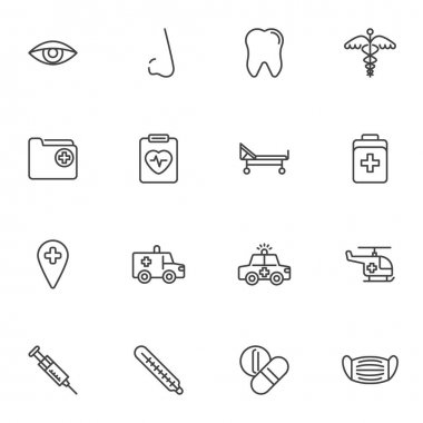Healthcare and medical line icons set, outline vector symbol collection, linear style pictogram pack. Signs logo illustration. Set includes icons as dental service, pharmacy, cardiology, emergency car icon