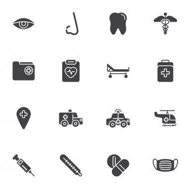 Healthcare and medical vector icons set, modern solid symbol collection, filled style pictogram pack. Signs, logo illustration. Set includes icons as dental service, pharmacy, cardiology, emergency icon