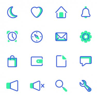 UI vector icons set, user interface modern solid bicolor symbol collection, filled style pictogram pack. Signs, logo illustration. Set includes icons as alarm clock, email message, notification, file icon