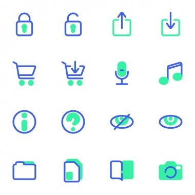 UI, UX vector icons set, user interface modern solid bicolor symbol collection, filled style pictogram pack. Signs, logo illustration. Set includes icons as information, document folder, camera, mic icon