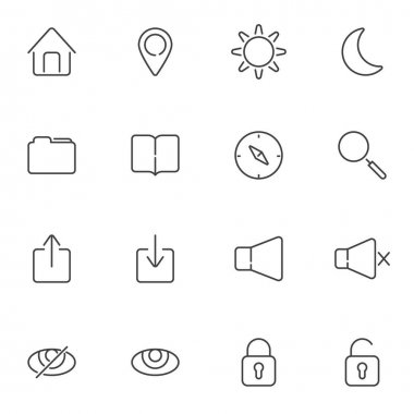 UI line icons set, user interface outline vector symbol collection, linear style pictogram pack. Signs, logo illustration. Set includes icons as document folder, sound mode, brightness, lock, unlock icon