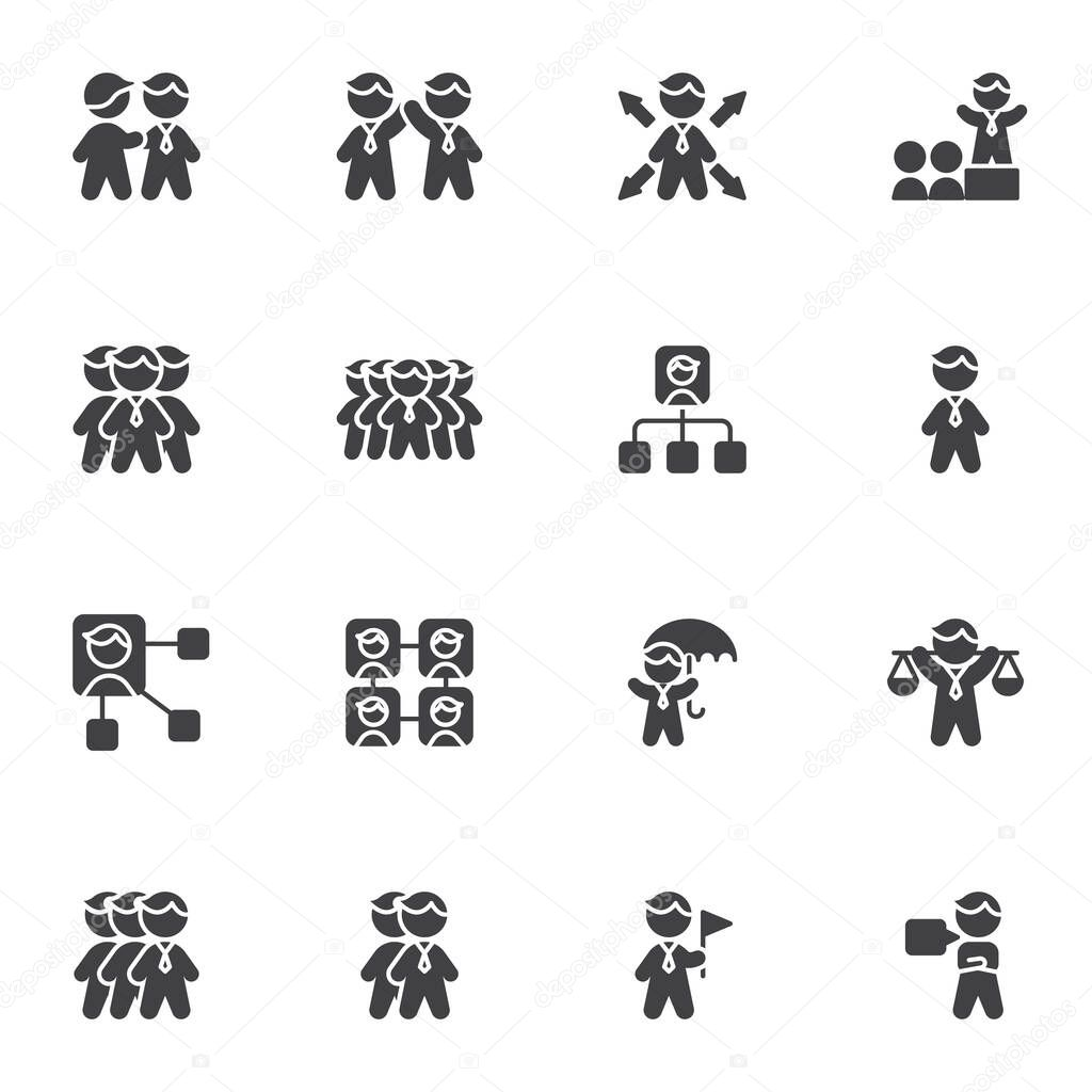 Business people vector icons set  modern solid symbol collection  filled style pictogram pack icon