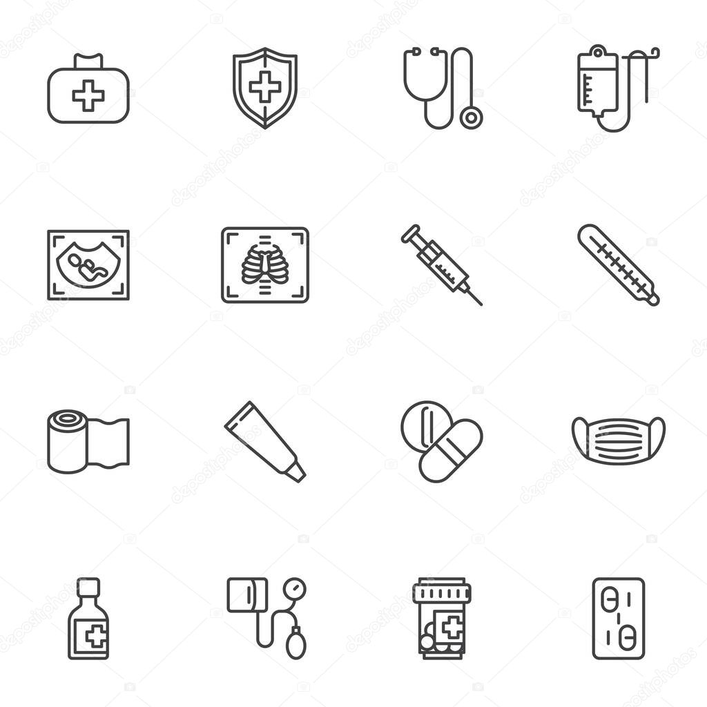 Medical service line icons set  outline vector symbol collection  linear style pictogram pack icon
