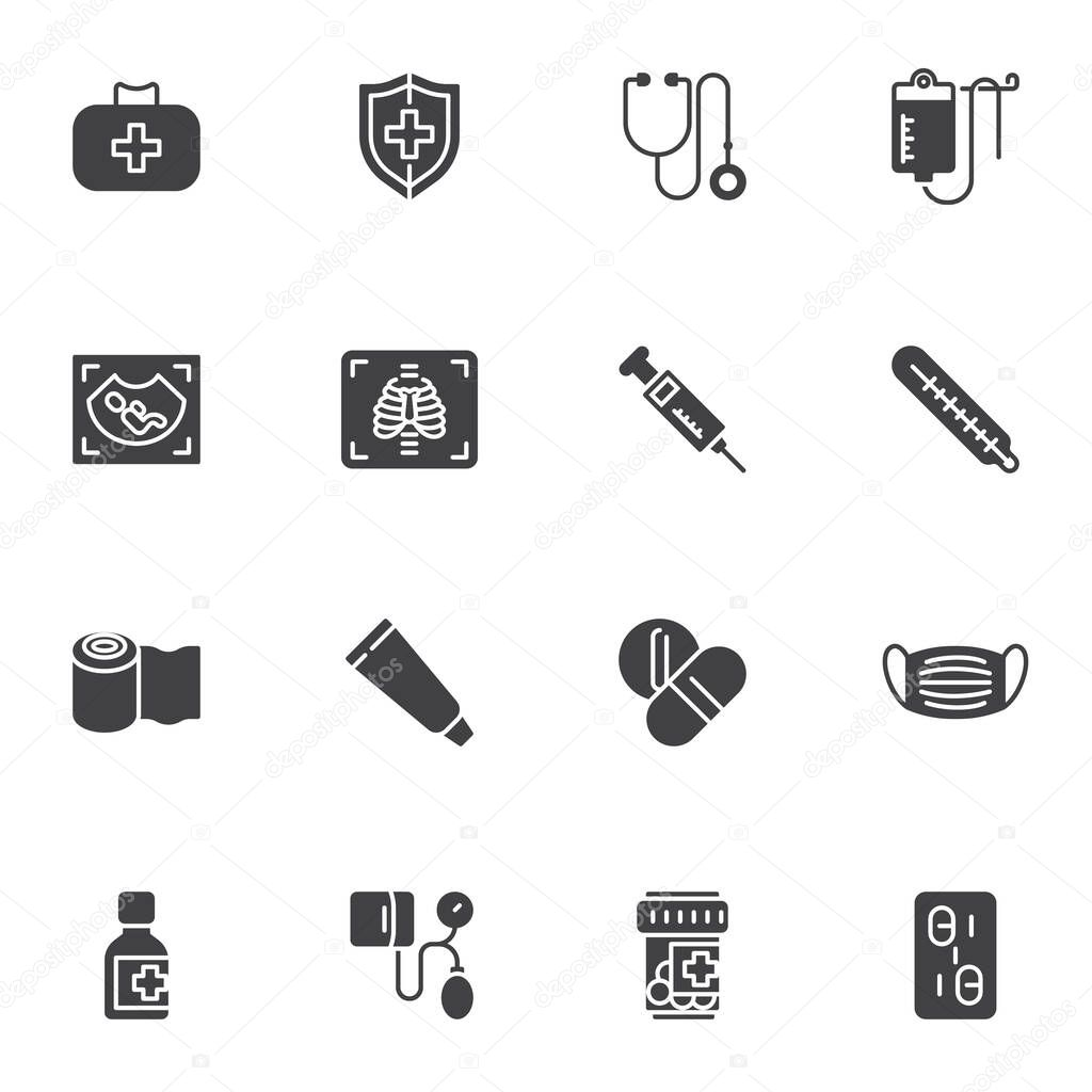 Medical service vector icons set  modern solid symbol collection  filled style pictogram pack icon