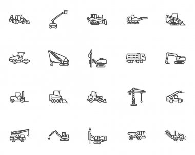 Construction machinery line icons set. linear style symbols collection, outline signs pack. Heavy equipment vector graphics. Set includes icons as construction truck, road roller, building crane, rig icon