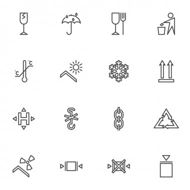 Packaging line icons set, package outline vector symbol collection, linear style pictogram pack. Signs, logo illustration. Set includes icons as estimated, fragile, limitation, recyclable materials icon