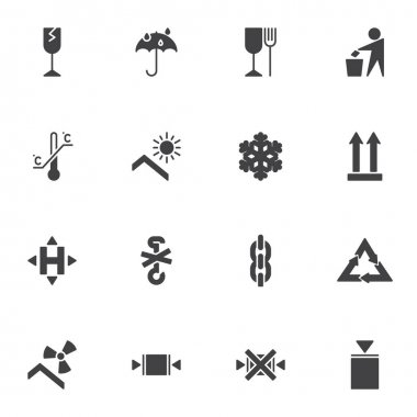 Packaging vector icons set, package modern solid symbol collection, filed style pictogram pack. Signs, logo illustration. Set includes icons as estimated, fragile, limitation, recyclable materials icon