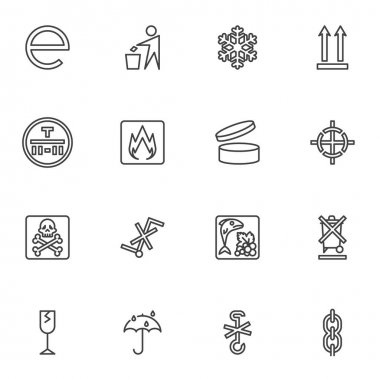 Packaging signs line icons set, package outline vector symbol collection, linear style pictogram pack. Signs, logo illustration. Set includes icons as cargo, flammable, estimates, do not litter icon
