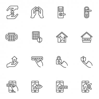 Smart home security system line icons set, outline vector symbol collection, linear style pictogram pack. Signs, logo illustration. Set includes icons as smart door security password, door lock key icon