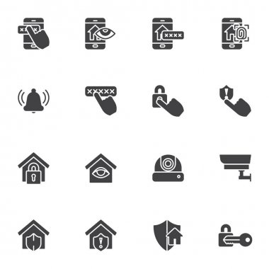 Smart home security vector icons set, modern solid symbol collection, filled style pictogram pack. Signs, logo illustration. Set includes icons as smart door security system, spy camera, mobile phone icon