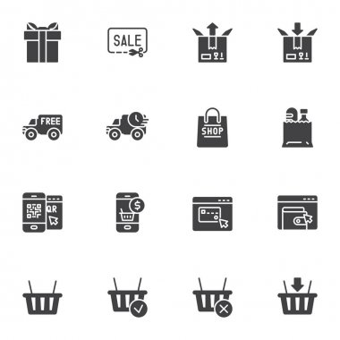 Shopping and E-commerce vector icons set, modern solid symbol collection, filled style pictogram pack. Signs, logo illustration. Set includes icons as express delivery service, sale coupon, payment icon