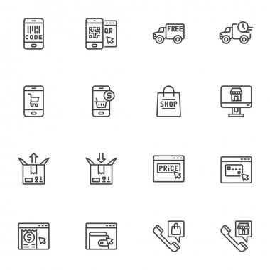 E-commerce and shopping line icons set, online shopping outline vector symbol collection, linear style pictogram pack. Signs, logo illustration. Set includes icons as express delivery service, support icon