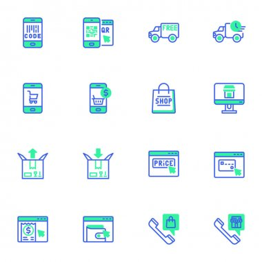 E-commerce and shopping line icons set, online shopping outline vector symbol collection, linear style pictogram pack. Signs, logo illustration. Set includes icons as mobile payment, free shipping icon