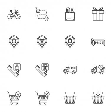 Online shopping delivery line icons set, outline vector symbol collection, linear style pictogram pack. Signs, logo illustration. Set includes icons as delivery address, free shipping, shopping basket icon