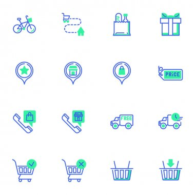 Shopping delivery service line icons set, online shopping outline vector symbol collection, linear style pictogram pack. Signs, logo illustration. Set includes icons as express shipping, call support icon
