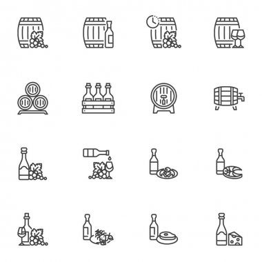 Wine snacks line icons set, outline vector symbol collection, linear style pictogram pack. Signs, logo illustration. Set includes icons as wine bottle, seafood, cheese, fish, meat steak, grapes icon