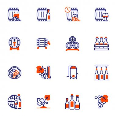 Wine making line icons set, winery outline vector symbol collection, linear style pictogram pack. Signs, logo illustration. Set includes icons as wine bottle box, barrel, grapes, corkscrew, vineyard icon