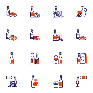 Wine and food line icons set, outline vector symbol collection, linear style pictogram pack. Signs, logo illustration. Set includes icons as bottle wine and glass, cheese, grapes, seafood, meat steak icon