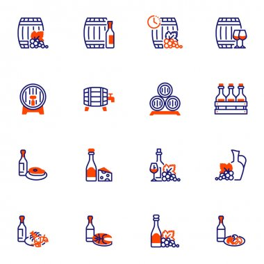 Wine beverages and food line icons set, winery outline vector symbol collection, linear style pictogram pack. Signs, logo illustration. Set includes icons as wine barrel, cheese, grapes, meat steak icon