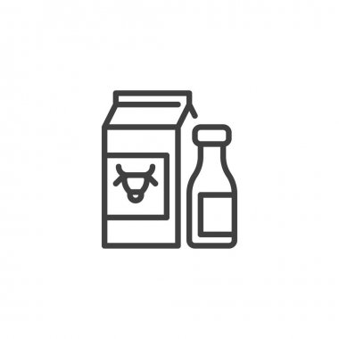 Dairy products line icon. linear style sign for mobile concept and web design. Milk package and bottle outline vector icon. Symbol, logo illustration. Vector graphics icon