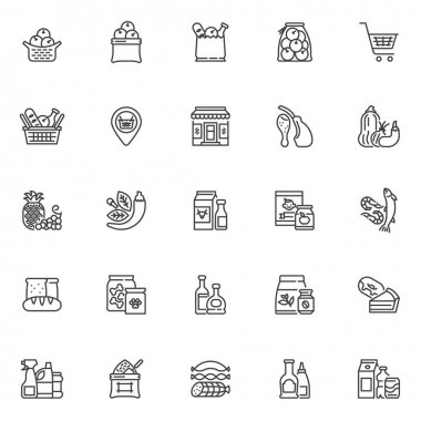 Grocery store departments line icons set. Grocery sections linear style symbols collection, outline signs pack. vector graphics. Set includes icons as fruit and vegetable, dairy product, seafood, meat icon