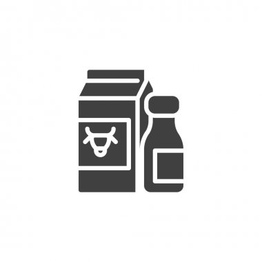 Dairy products vector icon. filled flat sign for mobile concept and web design. Milk package and bottle glyph icon. Symbol, logo illustration. Vector graphics icon