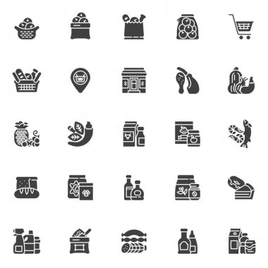 Grocery store departments vector icons set, modern solid symbol collection, filled style pictogram pack. Signs, logo illustration. Set includes icons as fruit, vegetable, dairy product, seafood, meat icon