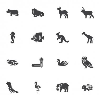 Animal vector icons set, modern solid symbol collection, filled style pictogram pack. Signs, logo illustration. Set includes icons as hippo kangaroo deer giraffe elephant porcupine fish flamingo icon