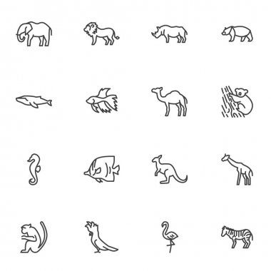 Wild animal line icons set, outline vector symbol collection, linear style pictogram pack. Signs, logo illustration. Set includes icons as elephant, lion, bear, dolphin fish, zebra, monkey, camel icon