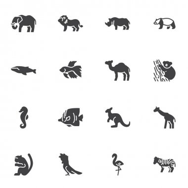 Wild animal vector icons set, modern solid symbol collection, filled style pictogram pack. Signs, logo illustration. Set includes icons as elephant, lion, bear, dolphin fish, zebra, monkey, camel icon