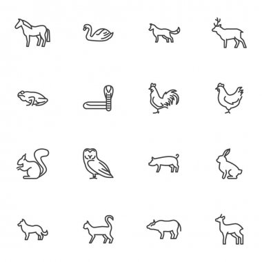 Bird and animal line icons set, outline vector symbol collection, linear style pictogram pack. Signs, logo illustration. Set includes icons as chicken, hen, frog, snake, cat, dog, horse, swan, rabbit icon