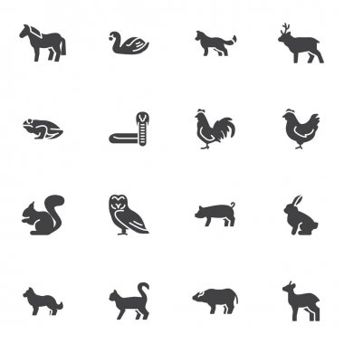 Bird and animal vector icons set, modern solid symbol collection, filled style pictogram pack. Signs, logo illustration. Set includes icons as chicken, hen, frog, snake, cat, dog, horse, swan, rabbit icon