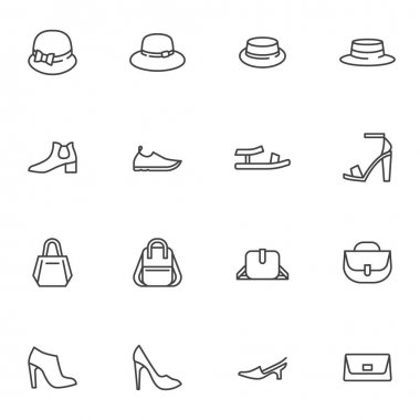 Women accessory line icons set, outline vector symbol collection, linear style pictogram pack. Signs, logo illustration. Set includes icons as hat, sandal shoes, backpack, clutch bag, handbag icon
