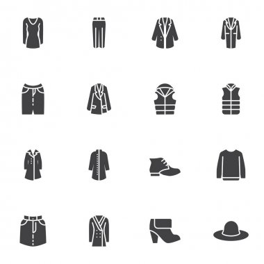 Womens Clothes vector icons set, clothing modern solid symbol collection, filled style pictogram pack. Signs, logo illustration. Set includes icons as jacket, dress, coat, boot shoe, skirt, hat icon