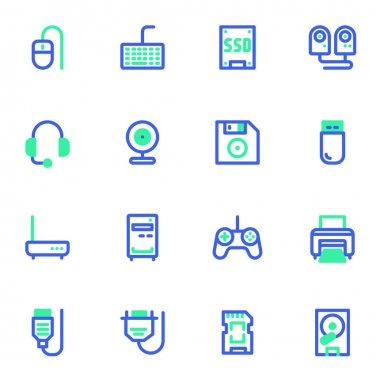Hardware, computer components line icons set, PC parts outline vector symbol collection, linear style pictogram pack. Signs, logo illustration. Set includes icons as usb stick, flash drive, keyboard icon
