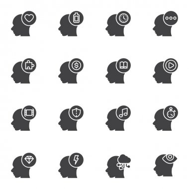 Brain process vector icons set, modern solid symbol collection, filled style pictogram pack. Signs logo illustration. Set includes icons as mental health, money thinking, problem solving thinking head icon