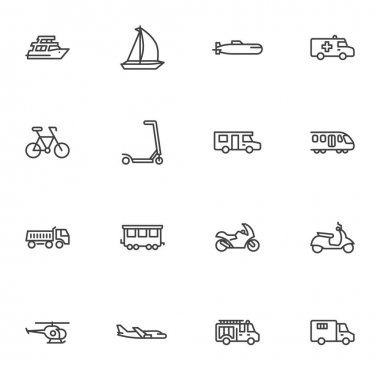Transportation line icons set, outline vector symbol collection, linear style pictogram pack. Signs logo illustration. Set includes icons as yacht boat, train, bicycle, motorcycle, scooter, bus, truck icon