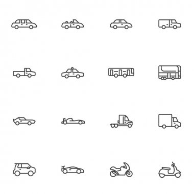 Transportation, vehicle line icons set, outline vector symbol collection, linear style pictogram pack. Signs, logo illustration. Set includes icons as sedan car, automobile, bus, motorcycle, truck icon