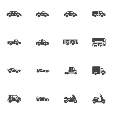 Transportation, vehicle vector icons set, modern solid symbol collection, filled style pictogram pack. Signs, logo illustration. Set includes icons as sedan car, automobile, bus, motorcycle, truck icon