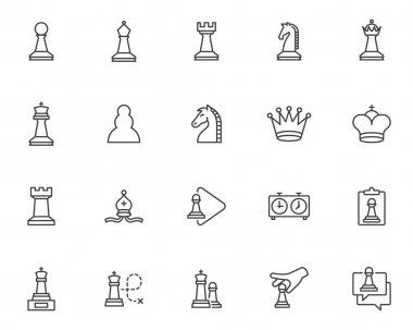 Chess game line icons set. linear style symbols collection, outline signs pack. vector graphics. Set includes icons as knight chess piece, pawn, king, queen, bishop, game strategy icon
