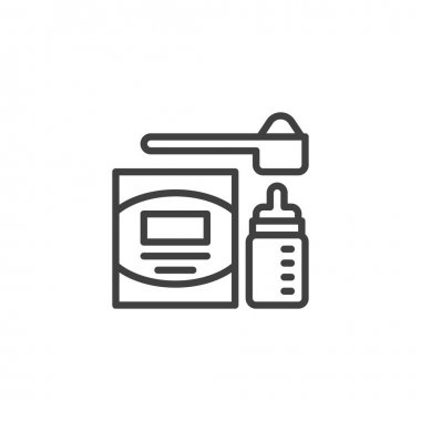 Infant nutrition line icon. linear style sign for mobile concept and web design. Baby milk bottle and measuring spoon outline vector icon. Symbol, logo illustration. Vector graphics icon